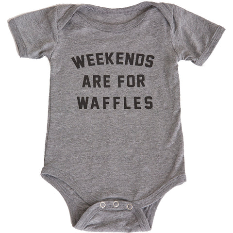 Kid's Pyknic Weekends Are For Waffles One Piece Grey Food Humor Funny
