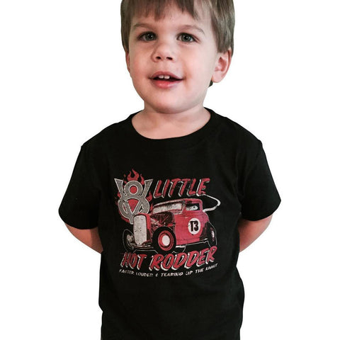 Kid's Retro-a-go-go! Ford™ V8 Little Hot Rodder T-Shirt Hot Rod Rat Rod Vintage