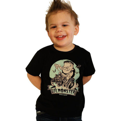 Kid's Retro-a-go-go! Lil' Monster Toddler T-Shirt Black Frankenstein Hot Rod