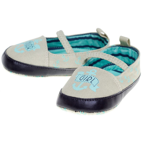 Kid's Sourpuss Sailor Girl Mary Janes Blue Infant Toddler Nautical Anchor Shoes