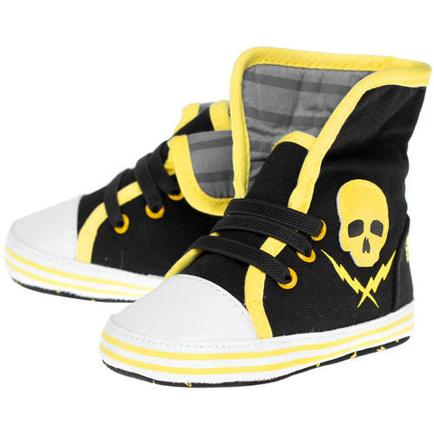 Kid's Sourpuss Skull & Bolt Sneakers Black/Yellow Infant Toodler Punk Shoes