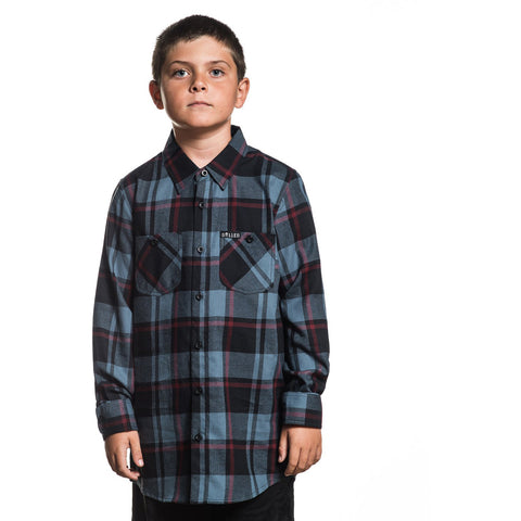 Kid's Sullen Challenge Flannel Black/Blue/Red Plaid Tattoo Art Lifestyle Brand