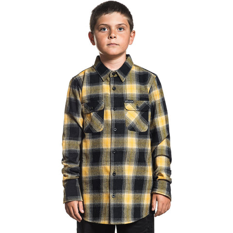 Kid's Sullen Honey Flannel Honey/Black Plaid Tattoo Art Lifestyle Brand