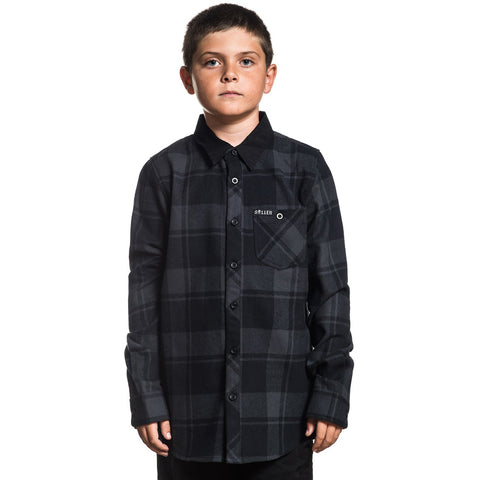 Kid's Sullen Raven Flannel Black/Gunmetal Plaid Tattoo Art Lifestyle Brand