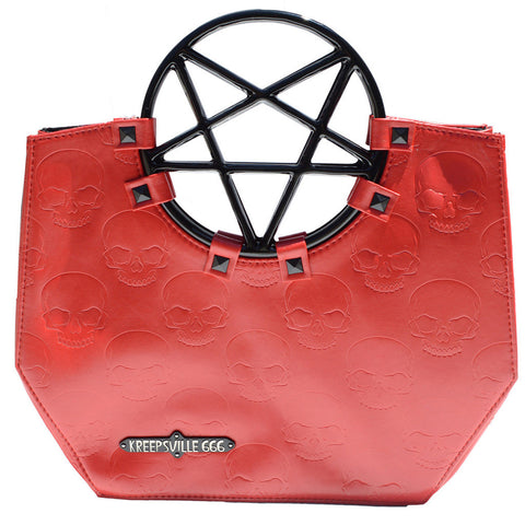 Kreepsville 666 Pentagram Handle Purse Bag Red Goth Occult Skulls