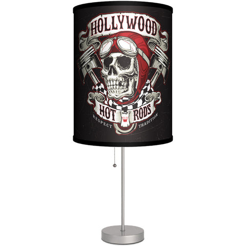 Lamp-In-A-Box Hollywood Hot Rods Skull Table Lamp Pistons Kustom Kulture