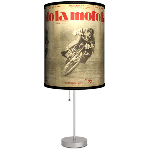 Lamp-In-A-Box La Moto Table Lamp Classic Vintage Motorcycle Poster