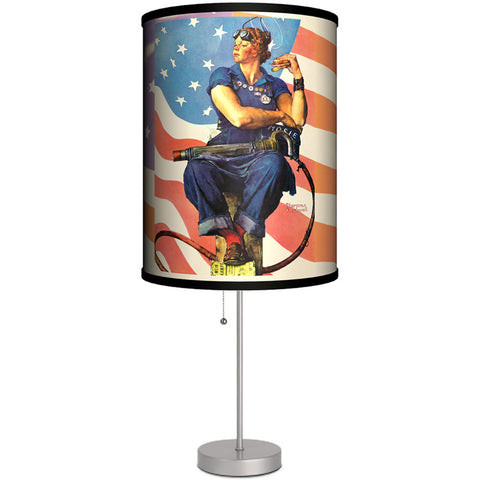 Lamp-In-A-Box Norman Rockwell Rosie The Riveter Table Lamp Retro