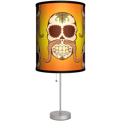 Lamp-In-A-Box Skull Mustache Table Lamp Day of the Dead Sugar Skulls Tattoo