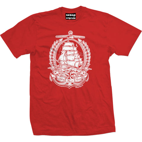 Men's Aesop Originals Ahoy There Matey T-Shirt Red Nautical Traditioal Tattoo