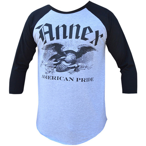 Men's Annex Clothing American Pride Baseball T-Shirt Heather Grey/Black Eagle