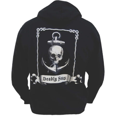 Men's Annex Clothing Deadly Seas Skull Anchor Tattoo Black Hoodie