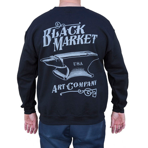 Men's Black Market Art Anvil Crew Neck Sweatshirt Black