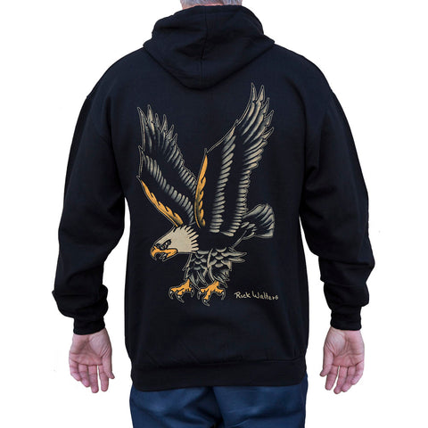 Men's Black Market Art Eagle Zip Hoodie Black American Traditional Tattoo Art