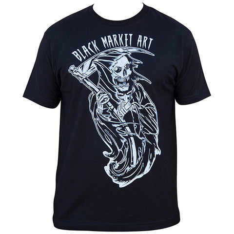 Men's Black Market Art Reaper T-Shirt Black Grim Reaper Skeleton