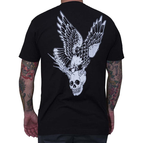 Men's Black Market Art Vengeance T-Shirt Black Tattoo Flash Art Skull Eagle