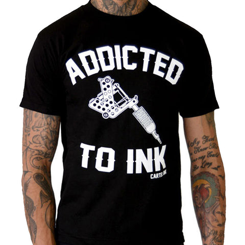 Men's Cartel Ink Addicted To Ink T-Shirt Black Tattoo Inked