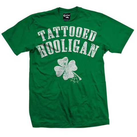 Men's Cartel Ink Tattooed Hooligan T-Shirt Green Inked St Patricks Day