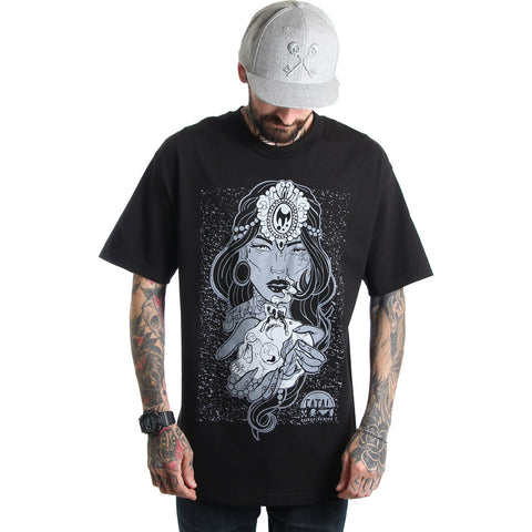 Men's Fatal Mystic T-Shirt Black Tattooed Girl Gypsy Skull Streetwear