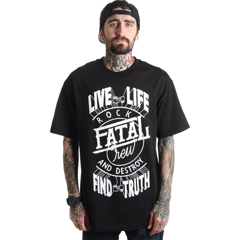 Men's Fatal Rock & Destroy T-Shirt Black Streetwear