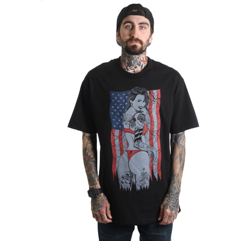 Men's Fatal Salute Da Boot T-Shirt Black American Flag Tattooed Girl Streetwear