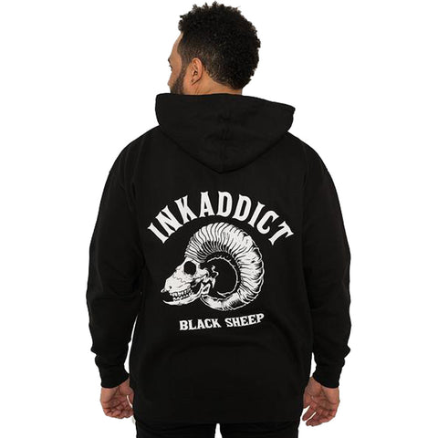 Men's InkAddict Black Sheep II Midweight Pullover Hoodie Black/White Ram Skull
