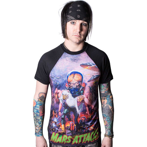 Men's Kreepsville 666 Mars Attacks B Movie Babe Raglan T-Shirt Sci-Fi Aliens