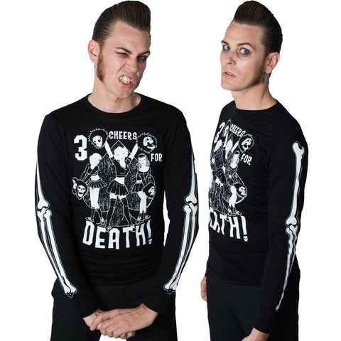Men's Kreepsville 666 Three Cheers For Death Longsleeve Top Black Goth Bones