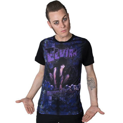Men's Kreepsville Elvira Demon Wing Raglan T-Shirt Mistress of the Dark Horror