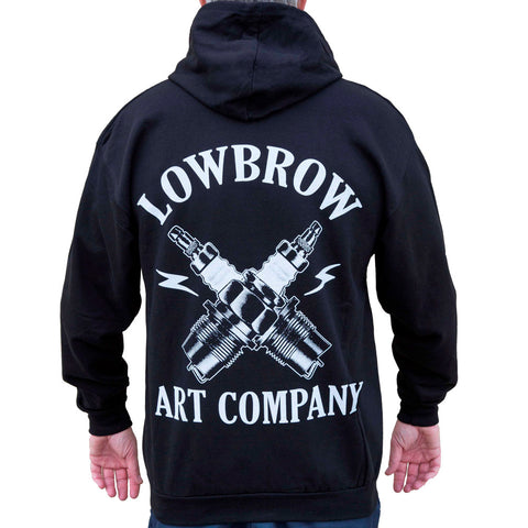 Men's Lowbrow Art Spark Hoodie Black Spark Plugs