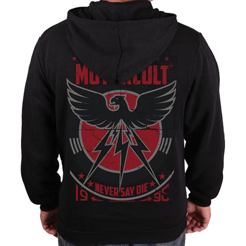 Men's MotorCult Never Say Die Zip Hoodie Black Eagle Car Lover