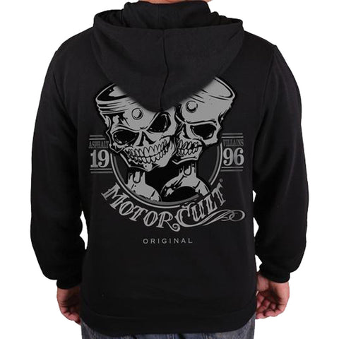 Men's MotorCult One and Only Pullover Hoodie Skull Pistons Hot Rod Car Lover