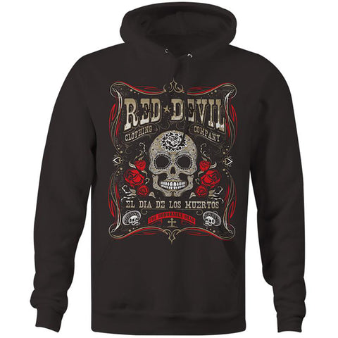 Men's Red Devil Clothing Dia De Los Muertos Hoodie Black Day of the Dead Skull