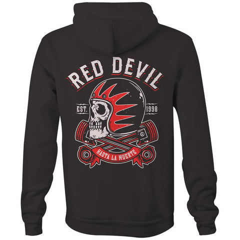 Men's Red Devil Clothing Hasta La Muerte Hoodie Black Skull Helmet Pistons
