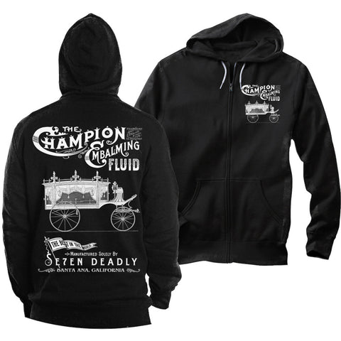 Men's Se7en Deadly Embalming Fluid Hoodie Vintage Hearse Funeral Carriage