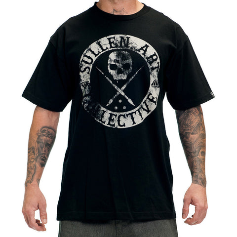 Men's Sullen Badge Of Honor Black T-Shirt Faded Sullen Skull Logo Tattoo Ink