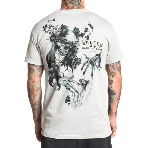 Mens Sullen Blinded Beauty T-Shirt Puritan Gray Lava Wash Skull Butterfly Tattoo