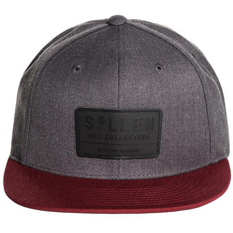 Sullen Builder Snapback Hat Charcoal/Burgundy Tattoo Art Lifestyle Brand
