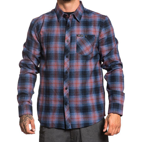 Men's Sullen Castor Flannel Blue/Burgundy Plaid Tattoo Art Lifestyle