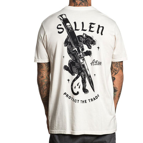 Men's Sullen Cut Off Short Sleeve T-Shirt Grey Tattoo Panther Switchblade Knife