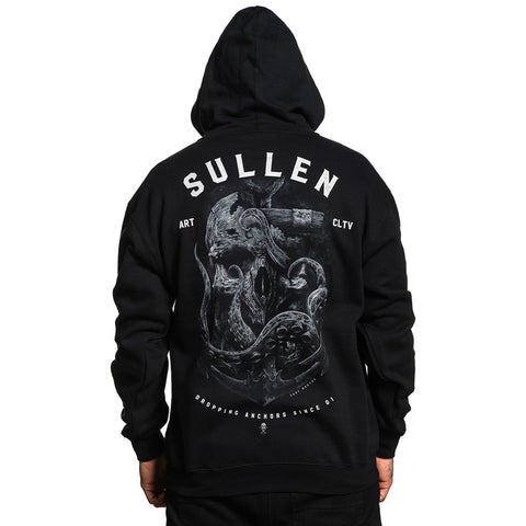 Men's Sullen Dropping Anchors Zip Hoodie Black Skull Tentacles Nautical Tattoo