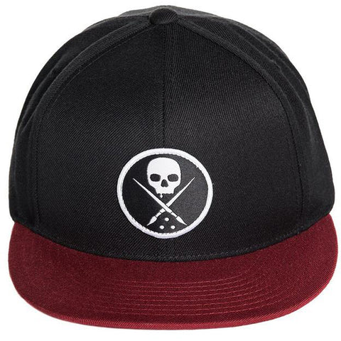 Sullen Edged Snapback Hat Black/Burgundy Skull Logo Tattoo Art Lifestyle Brand