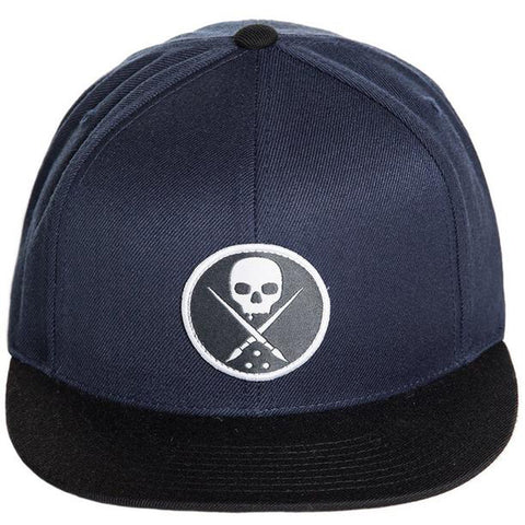 Sullen Edged Snapback Hat Navy Skull Logo Tattoo Art Lifestyle Brand