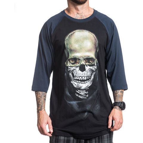 Men's Sullen Eternal Raglan T-Shirt Black/Navy Skull Tattoo Art Lifestyle Brand