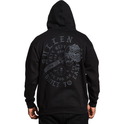 Men's Sullen Eye For An Eye Hoodie Black Skull Dagger Rose Tattoo Art Lifestyle