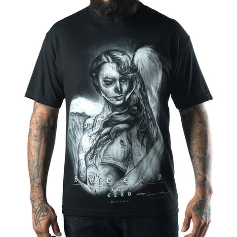 Men's Sullen Fallen Love T-Shirt Black Day of the Dead Girl Angel Tattoo Art