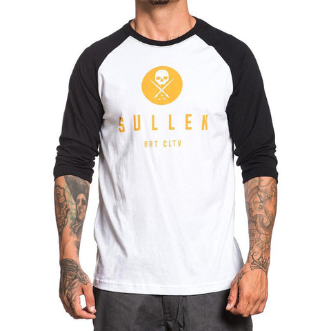 Men's Sullen Golden Rule Raglan T-Shirt White/Black Skull Tattoo Art Lifestyle