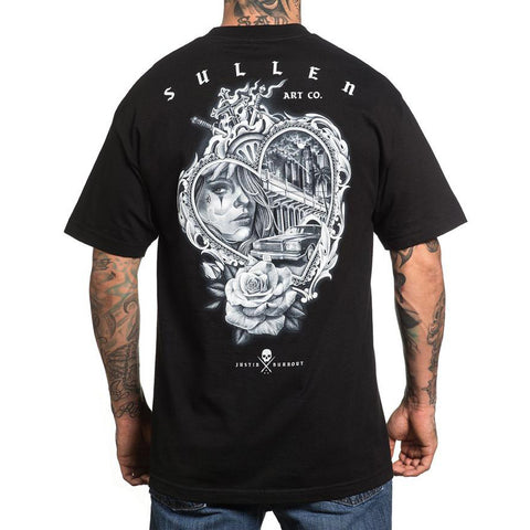 Mens Sullen Golden State II T-Shirt Black Sacred Heart Cali Tattoo Art Lifestyle