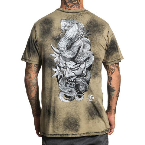 Men's Sullen Hanya Cobra T-Shirt Bleach Wash Green Tattoo Art Lifestyle