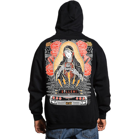 Men's Sullen Hopeless Zip Hoodie Black Tattooed Virgin Mary Tattoo Art Lowrider